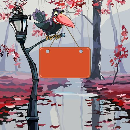 cartoon crow holding in its beak a signboard in the autumn park