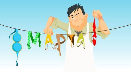 march 8: cartoon man hangs lingerie March 8