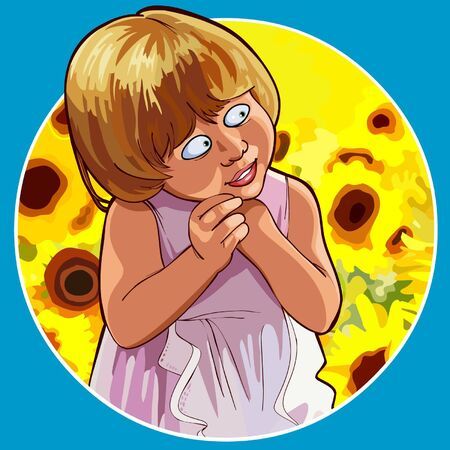 cartoon funny little girl shy standing in sunflowers Ilustrace