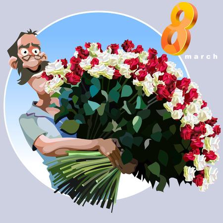 cartoon man met een enorme bos bloemen feliciteren op 8 maart Stock Illustratie
