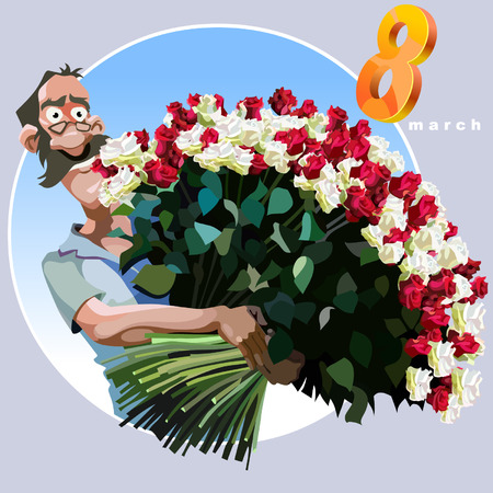 8 march: cartoon man with a huge bouquet of flowers congratulating on March 8 Illustration