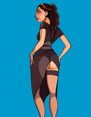 cartoon woman in a sexy long dress with a slit up the ass Illustration