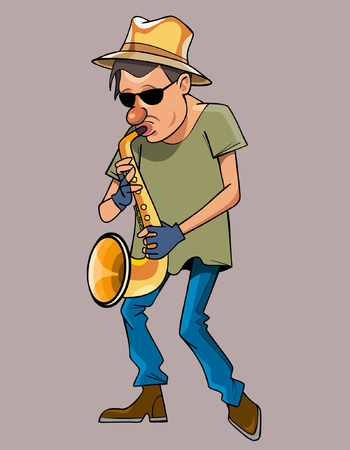 cartoon man with a hat performs saxophone