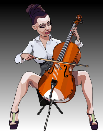 cartoon sexy woman performs on the contrabass