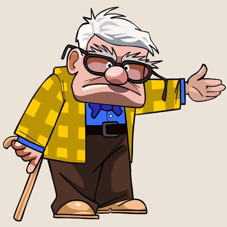 지팡이와 만화 할아버지는 그의 손을 향해 보여줍니다.