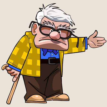 cartoon Grandfather with a cane shows his hand towards
