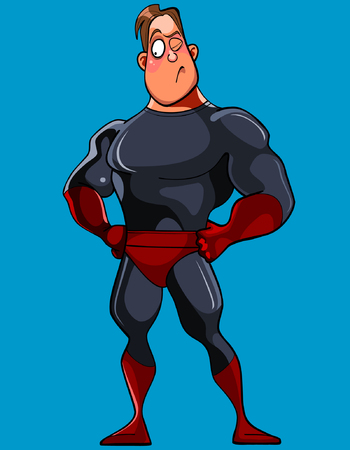 cartoon muscular man in a Superman costume stands astonished Illustration