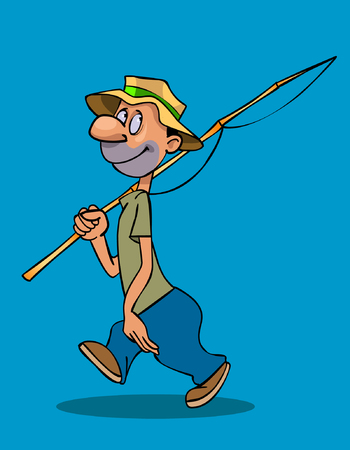 cartoon smiling man walks with a fishing rod on his shoulder