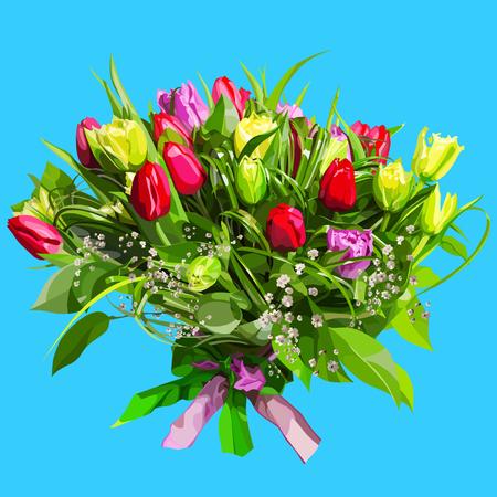 큰 꽃 꽃다발 컬러 튤립