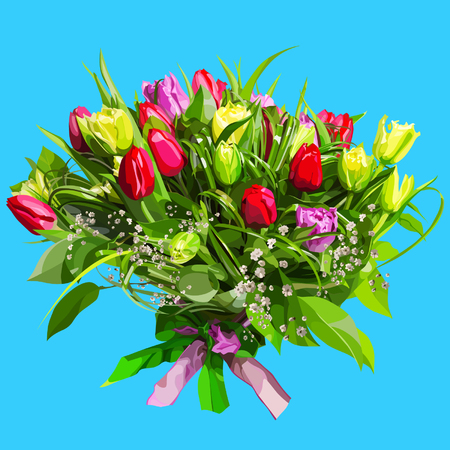 large floral bouquet colored tulips