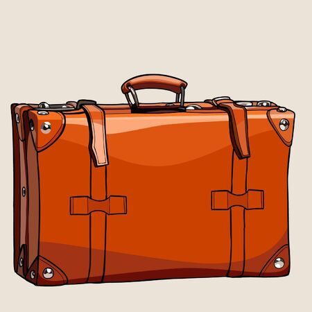 cartoon suitcase: cartoon suitcase from brown leather with rivets