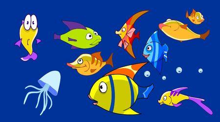cartoon aquarium with funny fish