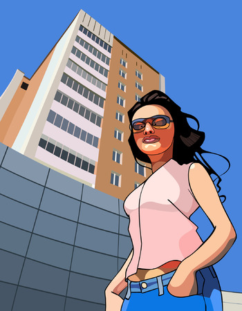 against: cartoon funny woman against the backdrop of a tall building