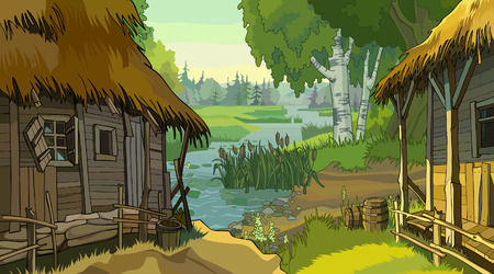 barn wood: cartoon landscape rustic hut by the river