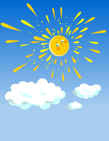 cartoon joyful sun in the sky with clouds Illustration