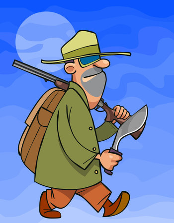 cartoon male hunter with a rifle and kukri in hands