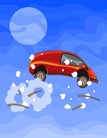 만화 빨간 차가 하늘의 조각들로 날아 갔다. 일러스트