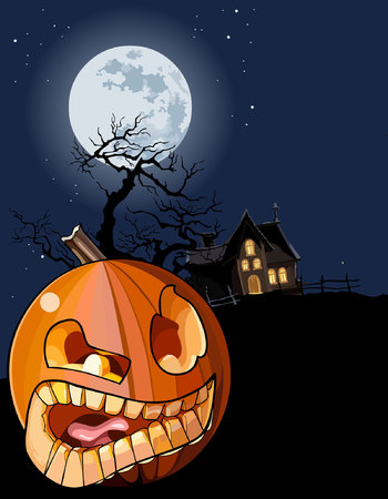 cartoon toothy pumpkin on a moonlit night on Halloween