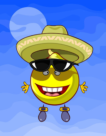 cheerful cartoon lemon with a hat and sunglasses