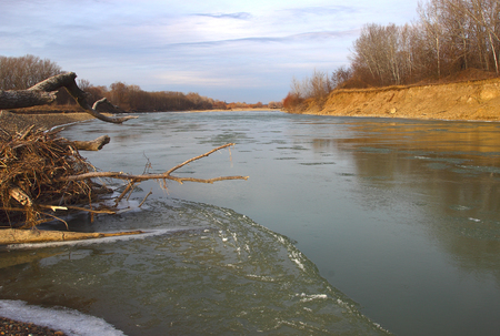 River, ice, snags