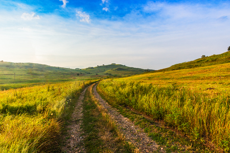 Not asphalted road goes across the field between hills. Hills and the field are covered with a green grass. Separate, rare trees on hills. Stock Photo