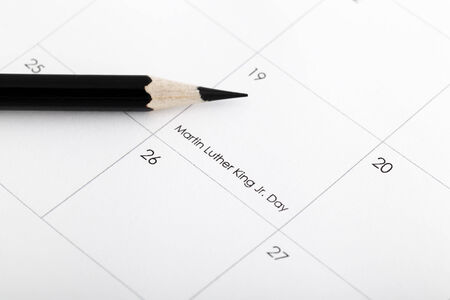 oversight: On January 19 in a calendar with a pencil Stock Photo