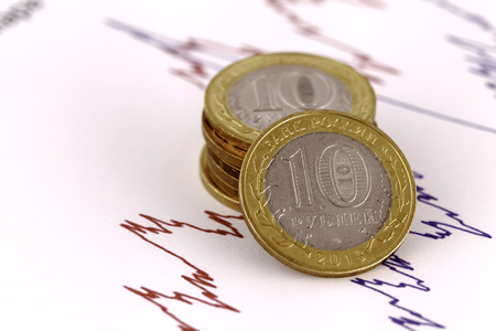 quotations: ten rubles against quotations of currencies Stock Photo