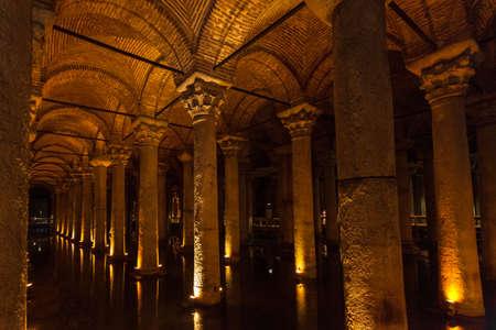 Basilica Cistern Interior, Istanbul, Turkey Stock Photo