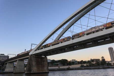 Rail Bridge in the City, Brisbane, Queensland, Australia Stock Photo