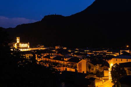 Varallo at Night, Piedmont, Italy Stock Photo