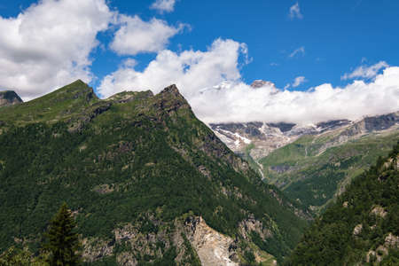 View of Monte Rosa in the Distance at Path to Alpe Campo, Alagna Valsesia, Piedmont, Italy
