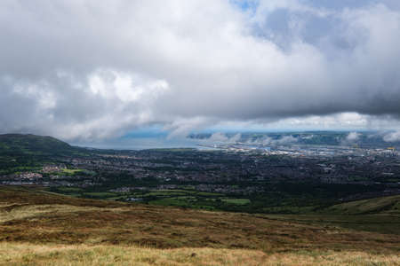 View of Belfast from the Black Mountains, Northern Ireland, UK