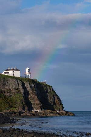 Rainbow over Whitehead Lighthouse, Northern Ireland, UK