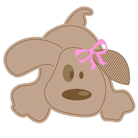 lazo rosa: Perro gracioso con o�do stripped decorado con arco rosado