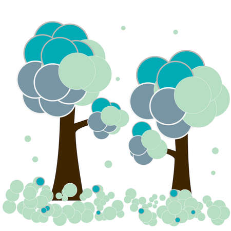 snowdrift: Stylised winter trees with rounded snowdrift -   illustration Illustration