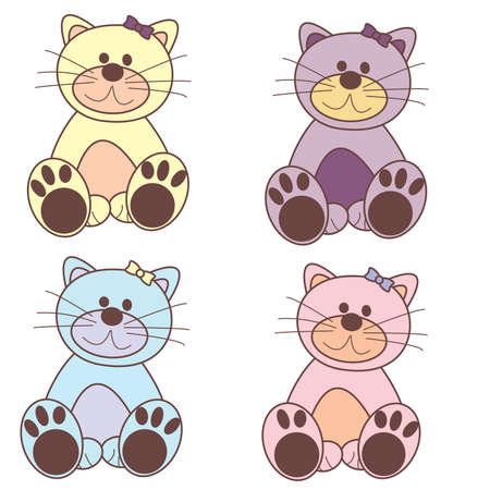 Set of colorful cartoon cats Иллюстрация