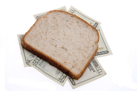 Money Sandwich.  Expense of food or eating your savings!   Stock Photo - 5729795