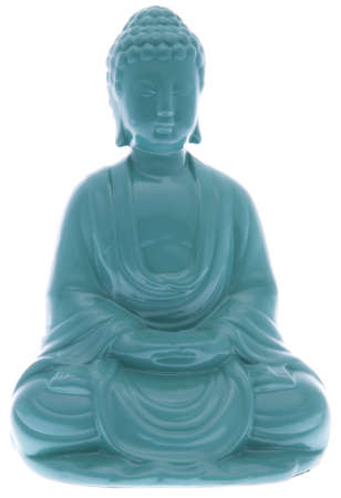 seated: Seated Buddha Statue in Vibrant Blue.  File includes clipping path.