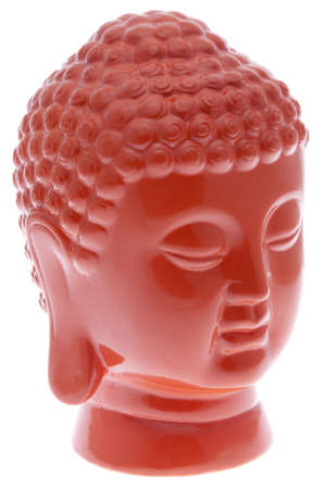 eastern philosophy: Modern buddha statue in vibrant orange.  File includes clipping path.