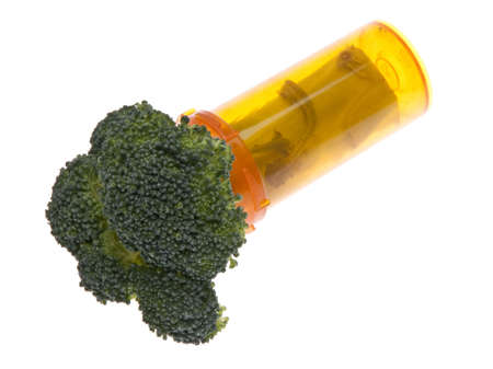 Prescription for Good Health symbolized by broccoli in a prescription bottle.