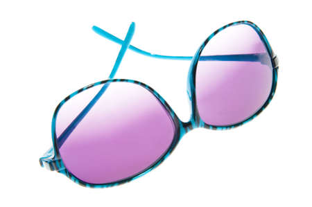 Hip and trendy blue zebra strips sunglasses isolated on a white background.  The lens has a purple tint. Stock Photo