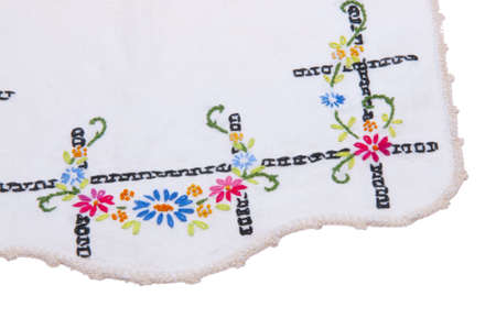 hankerchief: Flowered Hankerchief Border isolated on white with copy space. Stock Photo