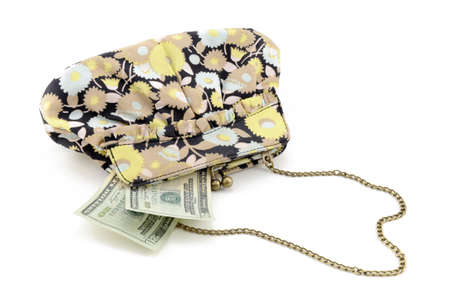 Flowered purse with 2, twenty dollar bills sticking out of it. Stock Photo - 5925955