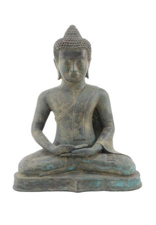 buddha image: Buddha statue on white background.  A metal artifact that is simple with clean lines.
