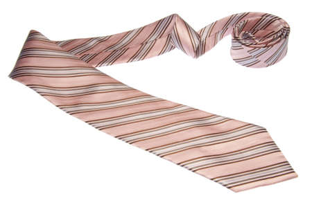 A brown, pink and blue tie