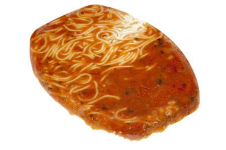 A frozen spaghetti and marinara sauce TV dinner ready for the microwave! Stok Fotoğraf