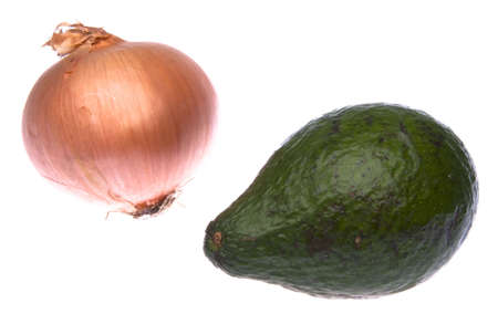 persona: An odd ouple, but it just might work out.  The onion and the avacado. Stockfoto