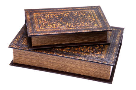 Pair of old books isolated on a white background with a clipping path.