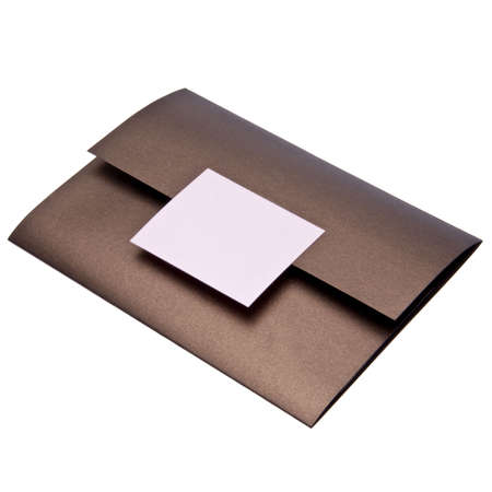 possibly: Fancy paper invitation, possibly for a wedding.  File includes a clipping path. Stock Photo