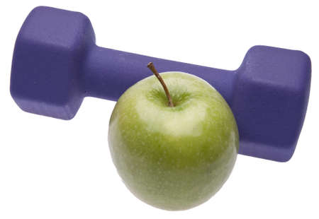 current events: An apple with a weight symbolizes the need to exercise to remain healthy.  Great for healthcare themes.